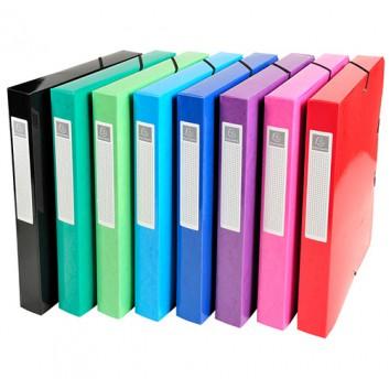 Exacompta Dokumentenbox Iderama; verschiedene Farben; für DIN A4; laminierter Karton, 600 g/qm; ca. 350 Blatt; mit Gummizugverschluß, 3 Klappen