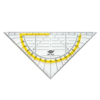 WEDO Geometriedreieck; transparent, gelb hinterlegt; Acryl; Länge der Hypotenuse: 160 cm; doppelseitige Tuschekante; farbig hinterlegte Winkelgrade