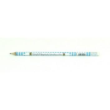 Bleistift Bayrisch Raute; HB; Raute weiß-blau + Text; runder Schaft; mit Radierer; -Königlich bayerische Schreibmaschine-