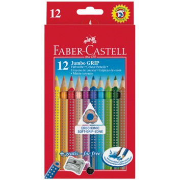 Faber-Castell Jumbo GRIP, Buntstifte; 12er-Kartonetui; dreikant: 9 mm (dick); lang: 175 mm; Noppen für rutschfesten Griff; wasservermalbar