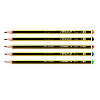 STAEDTLER Noris© 120 Bleistift; 2B - 2H; schwarz-gelb; Sechskantschaft; ohne Radierer