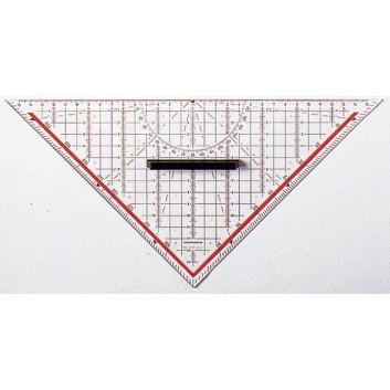 RUMOLD Technisches Zeichendreieck; transparent, rot hinterlegt; Kunststoff; Länge der Hypotenuse 325 mm; gegenläufige Gradskala; abnehmbarer Griff