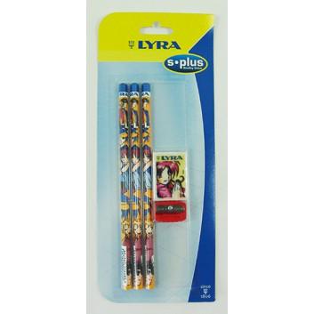 Bleistift; HB; buntes Kindermotiv; Dreikantschaft; Radiergummi und Spitzer extra