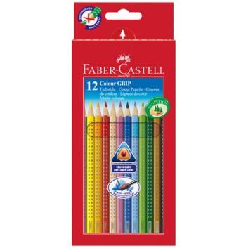 Faber-Castell Colour GRIP, Buntstifte; 12er-Kartonetui; dreikant: 6 mm; lang: 175 mm; Noppen für rutschfesten Griff; wasservermalbar