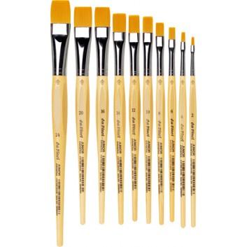 da Vinci Schulmalpinsel JUNIOR flach; verschiedene Größen; goldfarbene Synthetikfasern; lackierter Stiel auf Wasserbasis; Borstenpinsel