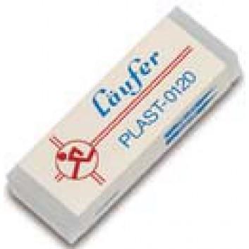 LÄUFER PLAST Radiergummi; klar; groß: 65 x 21 x 12 mm (L x B x H); für Bleistifte und Buntstifte; Kunststoff mit Papierbanderole