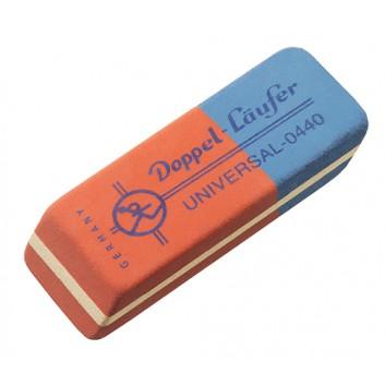 LÄUFER Radiergummi doppel Universal; rot-blau; 19 x 8,5 x 55 mm; Tinte, Tusche, Bleistifte, Farbstifte; Kautschuk