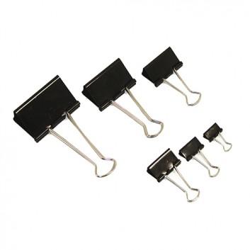 ALCO Foldbackklammern; verschiedene Größen; schwarz; kräftiger Federstahl; Klemmdicke max: verschiedene; Bügel abnehmbar