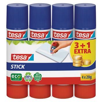 tesa Klebestift Stick ecoLogo® Sparpack 3+1; 3x 20g + 1x 20g gratis; Papier, Fotos, Filz, Hartschaum uvm.; ohne Lösungsmittel; kalt auswaschbar