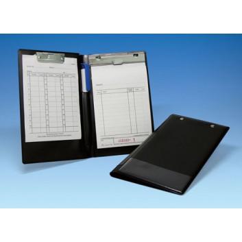 WEDO Klemm-Mappe für Kassenblock; schwarz; für DIN A6; Pappe, Kunststoffummandelt; ca. 150 Blatt; Kassenblockklammer, Zettelklammer