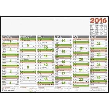 Glocken Tafelkalender A4; weiß; 29,7 x 21 cm; 50-13318; 6 Monate = 1 Seite; Karton / Pappe; Tageszählung