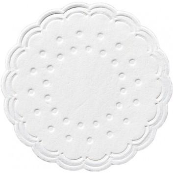 Duni Tassendeckchen; 7,5 cm; uni; weiß; 353458; Zelltuch, 9-lagig; Durchmesser