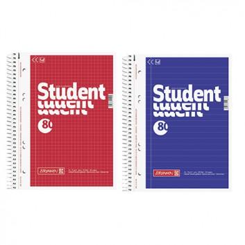 Brunnen Collegeblock / Spiralblock; DIN A5; liniert / kariert; 70g/qm, holzfrei; 80 Blatt; Spirale seitlich; Deckblatt, blau oder rot