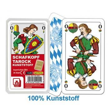 Schafkopfkarten, Kunststoff wasserfest; Bayerisches Bild; 36 Karten mit Deckblatt; 56 x 100 mm; Premium-Ausführung, Stärke 0,3 mm; im Klarsichtetui