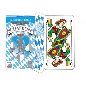Schafkopfkarten; Bayerisches Bild; 36 Karten mit Deckblatt; 56 x 100 mm; Classic Goldcard; Kunststoffbox