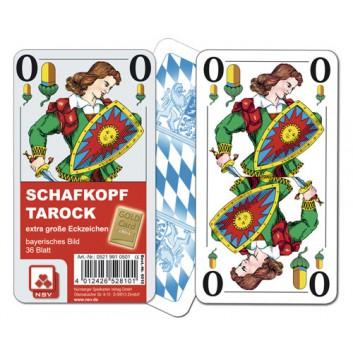 Schafkopfkarten - Senioren; Bayerisches Bild; 36 Karten mit Deckblatt; 56 x 100 mm; Spielkarten mit extra großen Eckzeichen; im Klarsichtetui