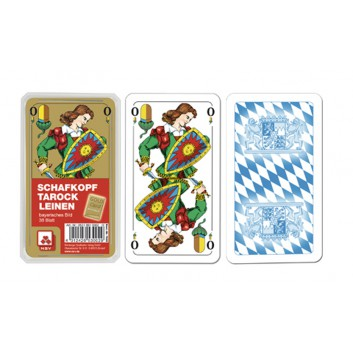 Schafkopfkarten, Premium Leinen; Bayerisches Bild; 36 Karten mit Deckblatt; 56 x 100 mm; Premium GoldCard; im Klarsichtetui