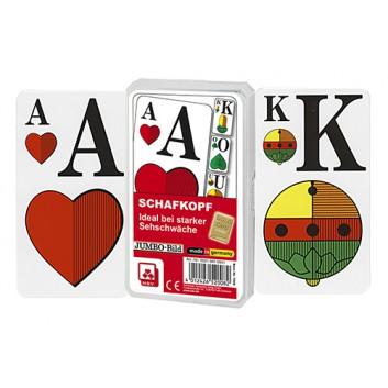 Schafkopfkarten - JUMBO (bei Makuladeg.); Bayerisches Bild; 36 Karten mit Deckblatt; 56 x 100 mm; Jumbobild - bei Makuladegeneration