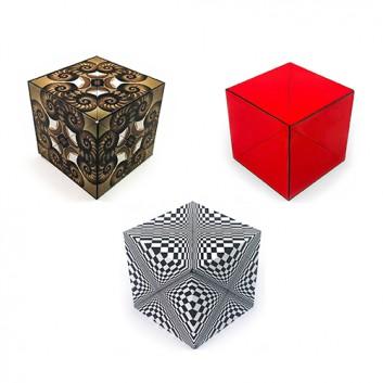 GeoBender ® Cube - 3D-Puzzle; verschiedene Varianten; 1 Würfel; 6 x 6 x 6 cm; an 2 Ecken zu öffnen; in der Faltschachtel