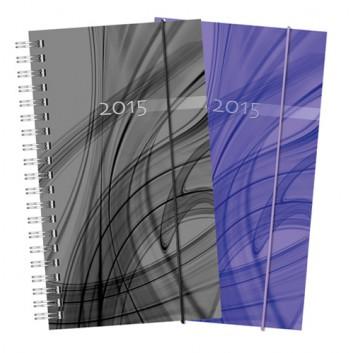 Brunnen Spiralkalender; violett oder schwarz; 9,5 x 17 cm; 1 Woche = 2 Seiten; 1074980..; PP-Einband mit Gummizug; Wire-O-Bindung