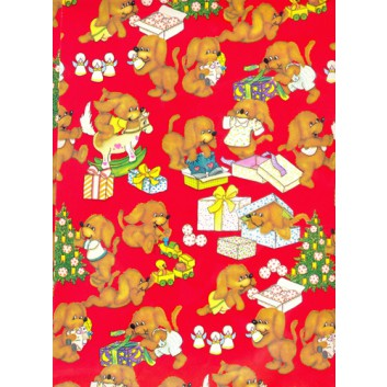 Weihnachts-Geschenkpapier, Bogen; 70 x 100 cm; Kindermotiv: Hunde mit Geschenken; rot
