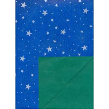 Weihnachts-Geschenkpapier, Bogen; 70 x 100 cm; bicolor: Silbersterne auf blau; Rückseite: uni grün; Kraftpapier enggerippt