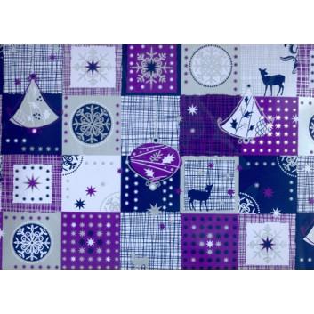 Weihnachts-Geschenkpapier, Bogen; 70 x 100 cm; moderne Weihnachtsmotive; lila-silber; 1A5349