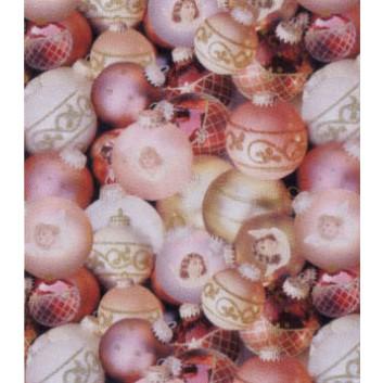 Weihnachts-Geschenkpapier, Bogen; 70 x 100 cm; Weihnachtskugeln; creme, rosé; 84646; Bilderdruckpapier, 85g/qm