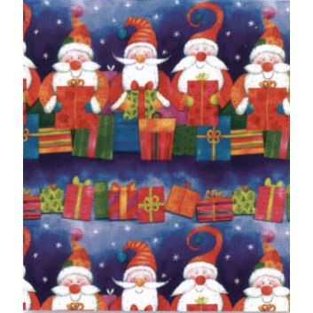 Weihnachts-Geschenkpapier, Bogen; 70 x 100 cm; Weihnachtsmänner mit Geschenken; blau; 14013-84656; Bilderdruckpapier, 85g/qm