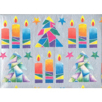 Weihnachts-Seidenpapier; 50 x 70 cm; Kerzen & Tannenbäume; bunt auf silber; 5222; Seidenpapier, geprägt, 25g/qm