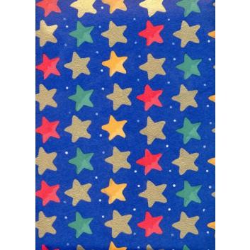 Weihnachts-Seidenpapier; 50 x 70 cm; Sterne; bunt auf dunkelblau; 5234; Seidenpapier, geprägt, 25g/qm