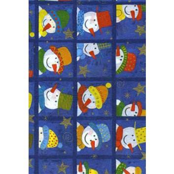 Weihnachts-Seidenpapier; 50 x 70 cm; Schneemänner in Kästchen,; bunt auf blau; 5163; Seidenpapier, geprägt, ca. 25g/qm; Rückseite unbedruckt