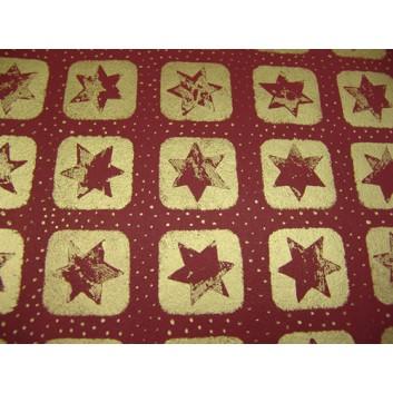 Weihnachts-Seidenpapier; 50 x 70 cm; Sterne; bordeaux-gold; 5275; Seidenpapier, geprägt, 25g/qm