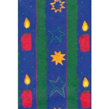 Weihnachts-Seidenpapier; 50 x 70 cm; Kerzen und Sterne; grün-blau; 5280; Seidenpapier, geprägt, ca. 25g/qm; Rückseite unbedruckt