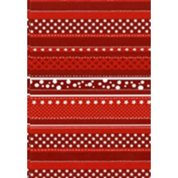 Weihnachts-Seidenpapier; 50 x 70 cm; Sternchen in Streifen; rot-weiß; 666103; Seidenpapier, geprägt, ca. 30g/qm; Rückseite unbedruckt
