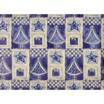 Weihnachts-Geschenkpapier, Bogen; 50 x 70 cm; Weihnachtsbäume mit Geschenken; weiß-dunkelblau; 44734