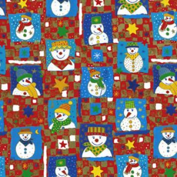Weihnachts-Geschenkpapier, Bogen; 50 x 70 cm; Schneemänner; rot