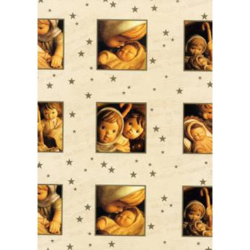 Horn Weihnachts-Geschenkpapier, Bogen; 50 x 70 cm; Josef, Maria und das Christuskind; creme-braun; 23-H6211; Exclusivpapier