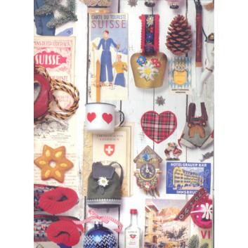 Weihnachts-Geschenkpapier, Bogen; 50 x 70 cm; Alpingeschmückte Wand; weiss; 8155; Exclusivpapier