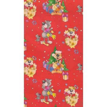 Weihnachts-Geschenkpapier, Großrolle; 50 cm x 250 m; Kindermotiv; rot; Geschenkpapier, gestrichen-glatt
