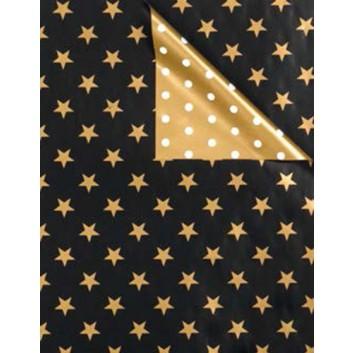 Weihnachts-Geschenkpapier, Großrolle; 50 cm x 250 m; Bicolor: Sterne - Punkte; schwarz-gold - gold-weiß; 5834