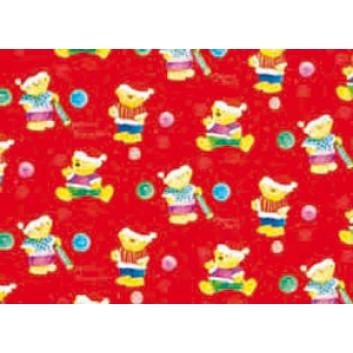 Weihnachts-Geschenkpapier, Großrolle; 50 cm x 250 m; Kindermotiv: Weihnachtsteddy; rot; 615; Geschenkpapier, gestrichen-glatt