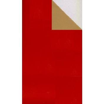 Geschenkpapier; 50 cm x 250 m; bicolor, zweiseitig farbig; rot glänzend - altgold mattglanz; 11117; Lackpapier weiß, glatt; Secare-Rolle