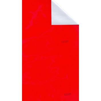Geschenkpapier; 50 cm x 250 m / 70 cm x 250 m; bicolor, zweiseitig farbig; rot glänzend - silber metallic; 11127; Geschenkpapier, glatt