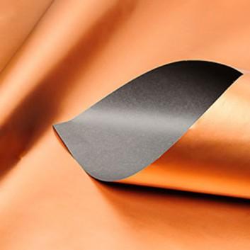 Geschenkpapier; 50 cm x 250 m / 70 cm x 250 m; bicolor, zweiseitig farbig; kupfer-grau; 11135; Geschenkpapier, glatt; Secare-Rolle