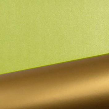 Geschenkpapier; 50 cm x 250 m; bicolor, zweiseitig farbig; hellgrün-gold; 90100; Geschenkpapier, glatt; Secare-Rolle