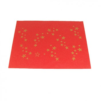 Weihnachts-Flaschenseide; 50 x 70 cm; Goldsterne; rot-gold; naßfest; ca. 30 g