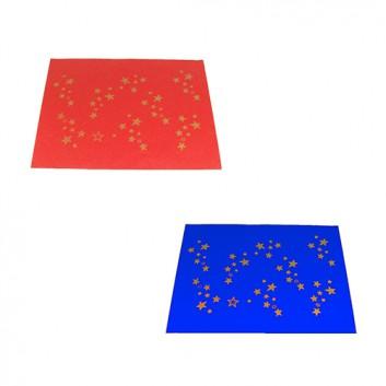 Weihnachts-Flaschenseide; 50 x 70 cm; Goldsterne; rot /  blau