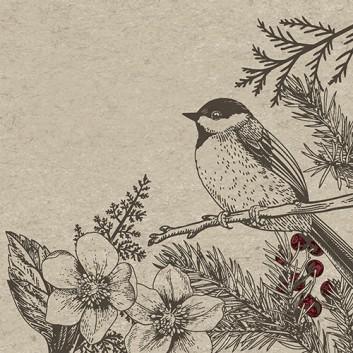 Paper + Design Recycling Weihnachts-Cocktail-Servietten; 25 x 25 cm; Botanical Xmas: Kohlmeise + Tannenzweig; schwarz-rot auf Natural; #193681