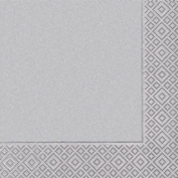 Paper + Design Cocktail-Servietten; 25 x 25 cm; Uni silver; silber; 10086; 3-lagig; 1/4 Falz (quadratisch); Zelltuch